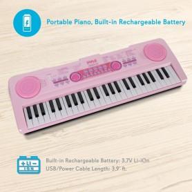 Teclado de piano de 49 teclas para niñas Pyle